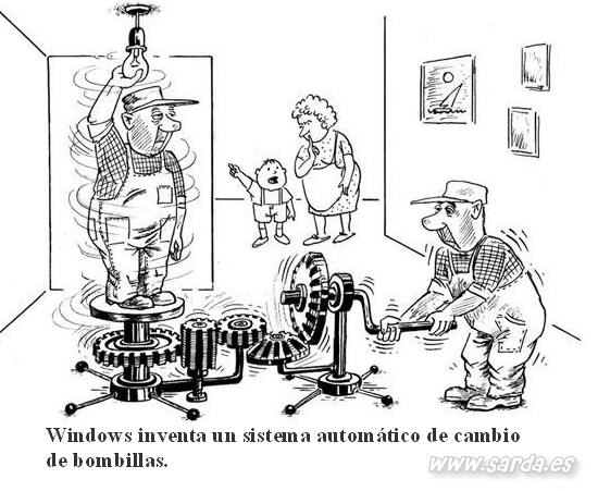 sistema cambio bombillas windows (humor grafico)